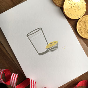 'A Glass Of Milk For Santa' Letterpress Card - cards