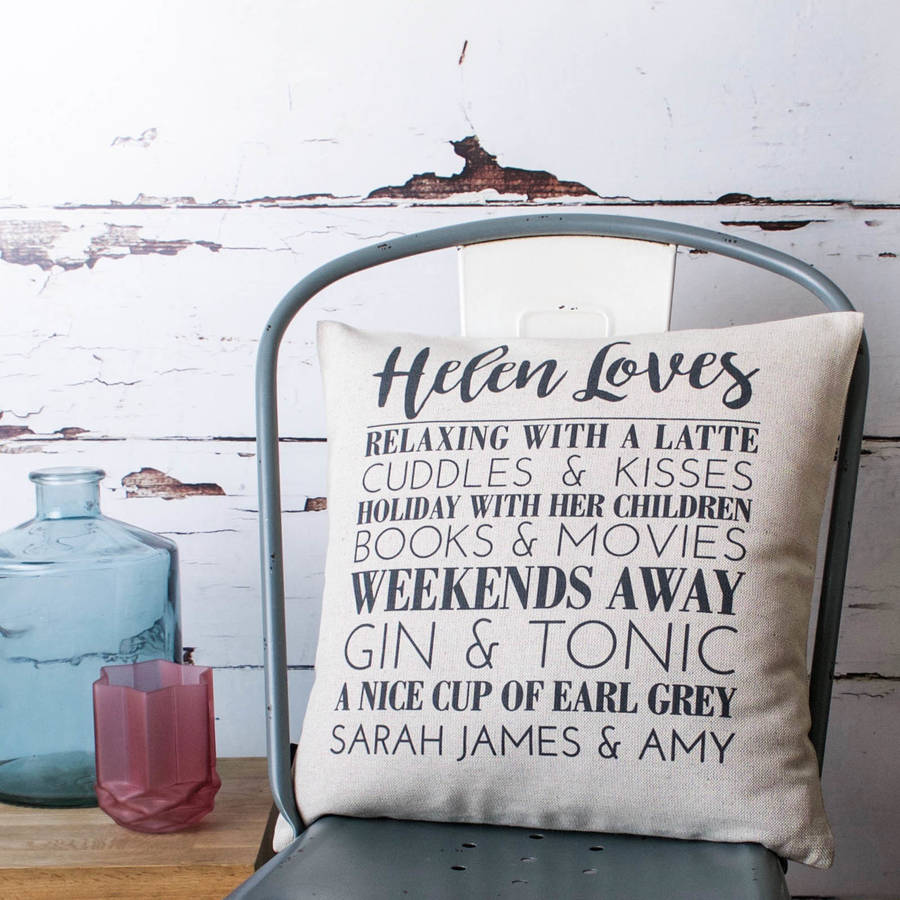 Personalised Loves Cushion Cover