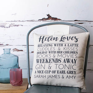 Personalised 'Loves' Cushion Cover - living room