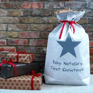 Personalised First Christmas Sack - stockings & sacks