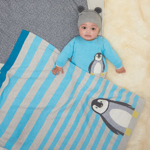 Dancer Striped Penguin Baby Blanket - baby shower gifts