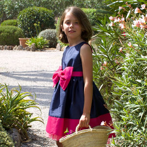 Florence Navy And Pink Taffeta Dress - dresses