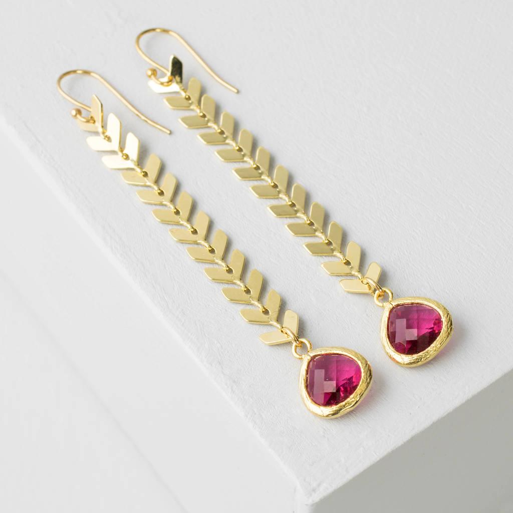 Gold Chevron Drop Earrings