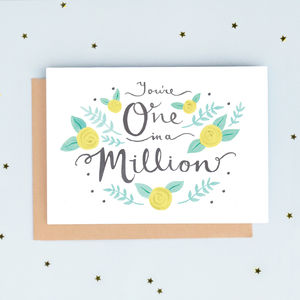 'One In A Million' Greeting Card - thank you cards