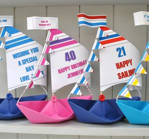 Personalised Racing Sail Boat Card - birthday cards