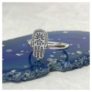 Sun Moon And Star Hamsa Ring