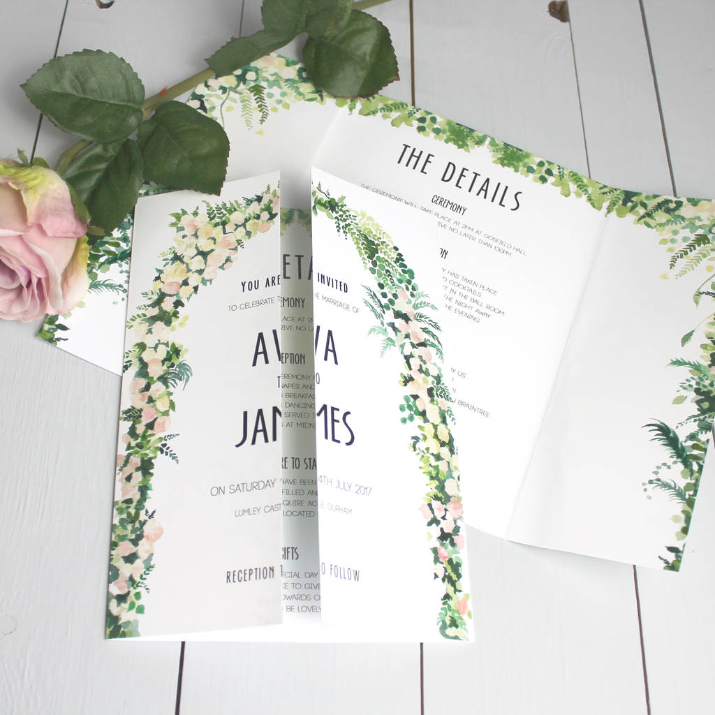 floral arch wedding invitation gate fold by beija flor studio