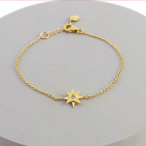 Tiny Star Bracelet With White Sapphire - bracelets & bangles