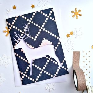 Papercut Reindeer Christmas Cards Pack Of Ten - cards