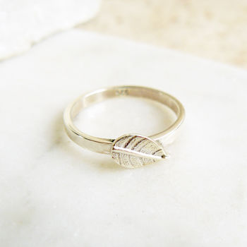 Leaf Sterling Silver Charm Ring