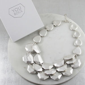 Chunky Layered Rock Necklace With Gift Box - statement necklaces