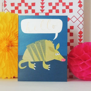 Armadillo Mini Greetings Card