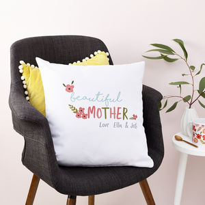 Personalised Floral Wording Cushion - mum loves home sweet home