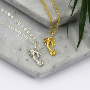 Sterling Silver And Gold Palm Tree Necklace