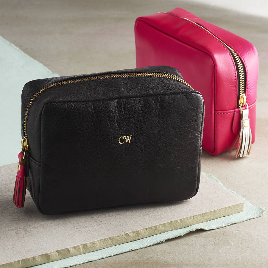 Personalised Leather Cosmetic Bag