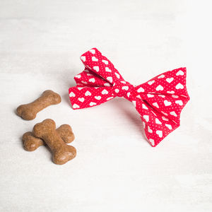 Red Heart Slide On Collar Bow Tie For Girl Or Boys - dogs