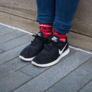 Red Black White Aztec Pattern Bamboo Calf Socks