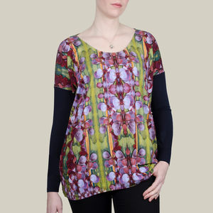 Long Top In Green Heart Printed Jersey