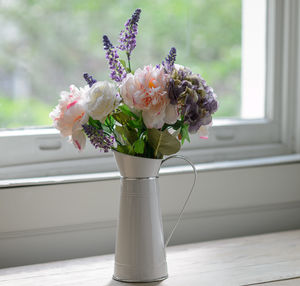 Silk Peony And Summer Flowers With Farmhouse Jug