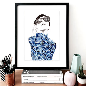 Fashion Illustration Carolina Stripe Sketch Print