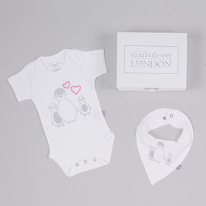 Penny Penguin Babygrow And Bib Gift Set