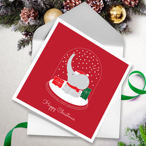 Festive Ele Globe Christmas Cards Red - cards
