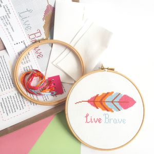 Live Brave Cross Stitch Kit