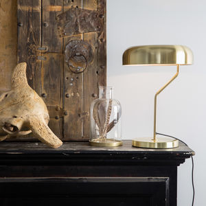 Eclipse Brushed Brass Desk Lamp - table lamps