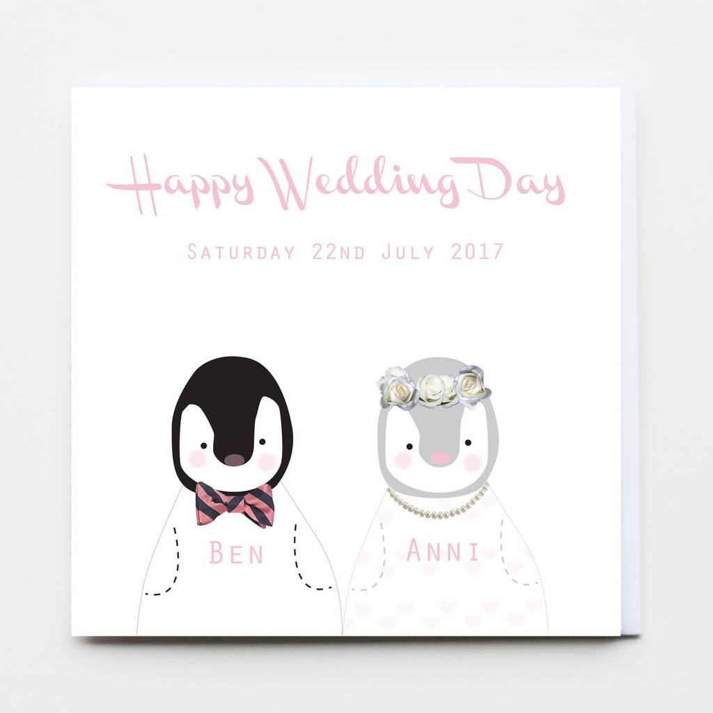 Penguin Wedding Day Greeting Card