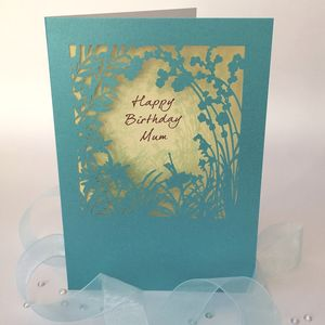 Mum Happy Birthday Delicate Cut Card - birthday cards