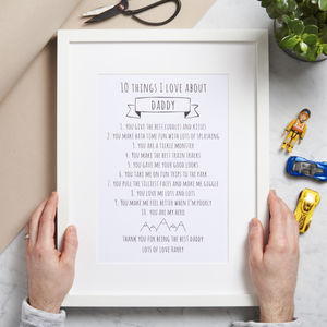Personalised Ten Things I Love About Daddy Print - gifts under £25