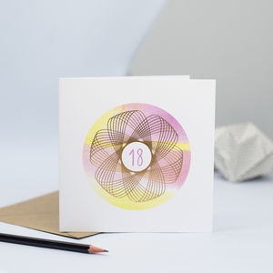 Spirograph 18th Birthday Card - special age birthday cards