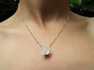 Rose Porcelain Pendant On 18'' Silver Chain - necklaces & pendants