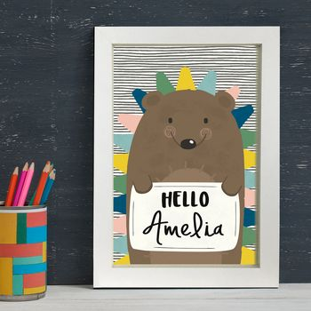 Personalised Hedgehog Baby Birth Print