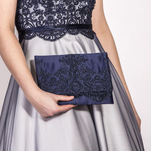 Satin And Lace Evening Clutch Bag