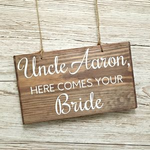 Here Comes Your Bride Personalised Wooden Sign - outdoor wedding signs