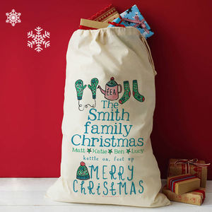 Personalised Family Christmas Present Sack