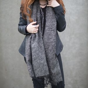 Black And Natural Knitted Stripe Scarf