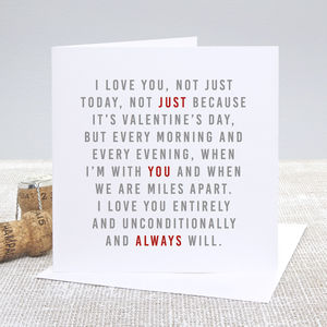 'Always' Valentine's Day Card - original valentine's cards