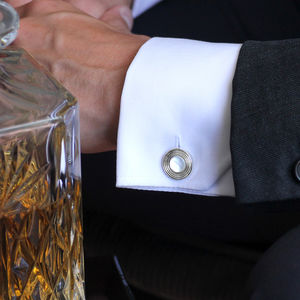 Silver And Mother Of Pearl Cufflinks - 30th anniversary: pearl