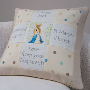 Peter Rabbit© Christening Memory Cushion* - children's room