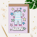 New Baby Card With Babygrow Illustration