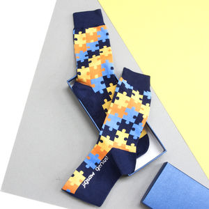 Personalised Men's Jigsaw Socks - underwear & socks