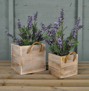 Whitewashed Pair Of Wooden Planters - gifts for her
