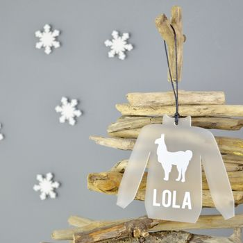 Personalised Christmas Jumper Llama Tree Decoration