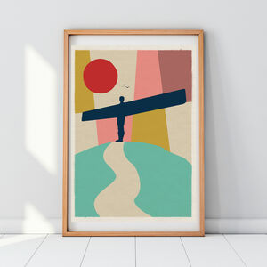 Angel Of The North Geometric Art Print Poster