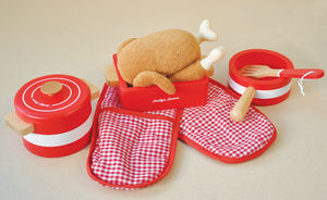 Kitchen Play Scene Red Pots And Pans Accessory