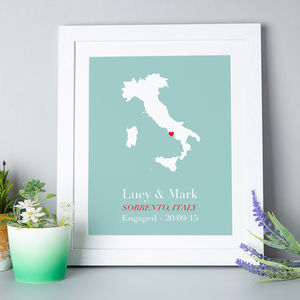Personalised Treasured Location Print - engagement gifts