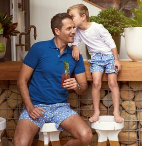 Father And Son Lollypops/Flipflops Flat Front Swimwear