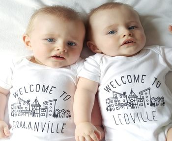 'Welcome To' Personalised Town Baby Vest